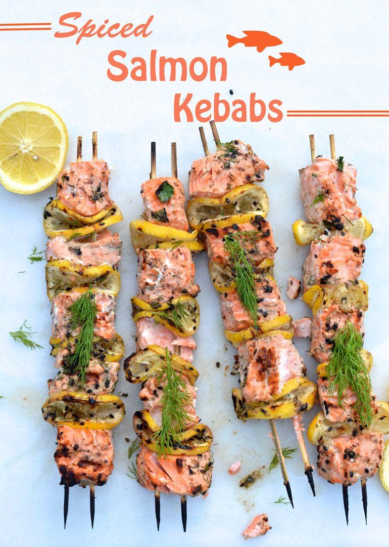 Grilled Salmon Kebabs via @myinvisiblecrown