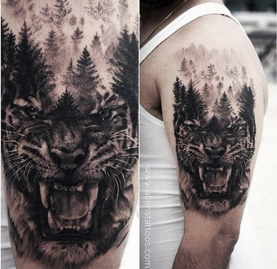 111745c03a7d0 Tiger/Forest tattoo | Tattoos | Tattoos for guys, Tattoos, Tiger tattoo