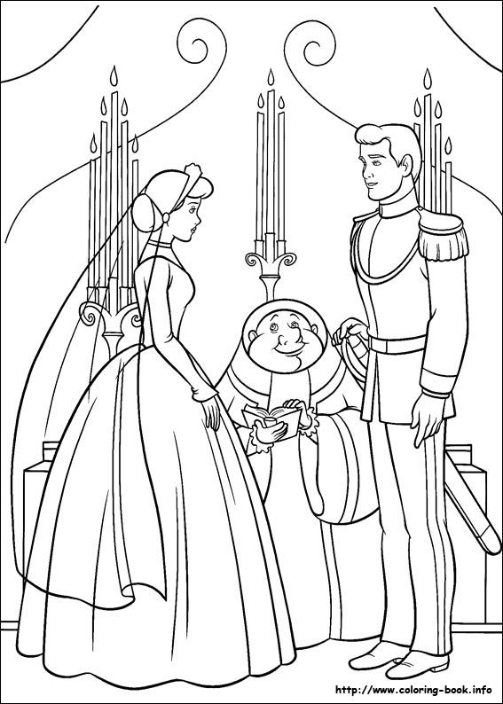 Cinderella Coloring Picture Wedding
