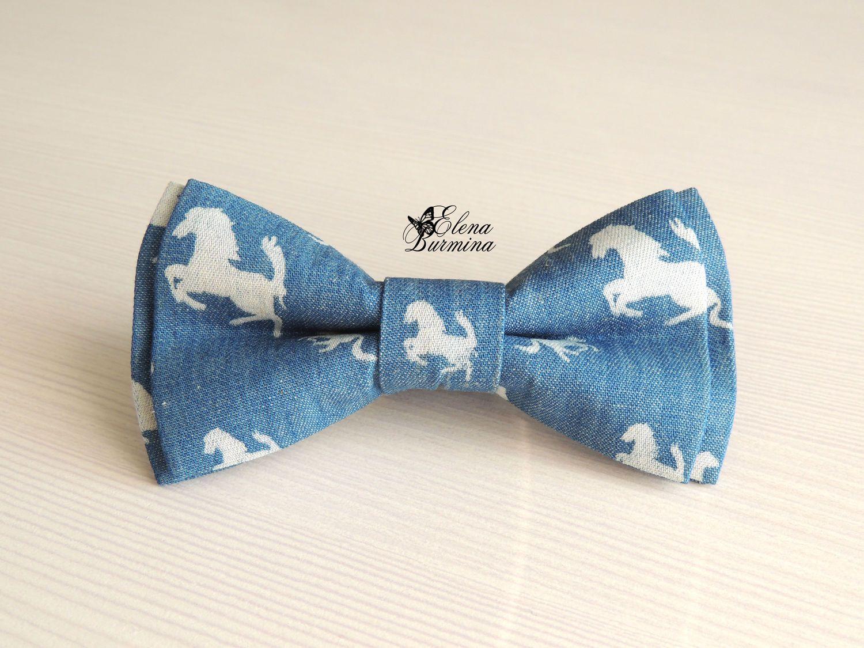 Купить Бабочка галстук в стиле деним с лошадками, хлопок - голубой, рисунок, деним, джинсовый стиль