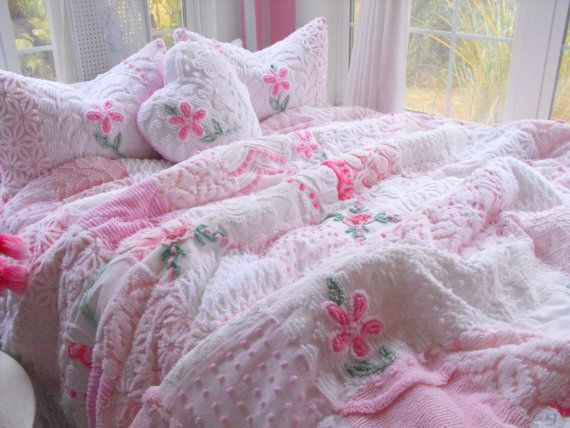 Sweetheart Vintage Chenille Patchwork Quilt Heart Pillow