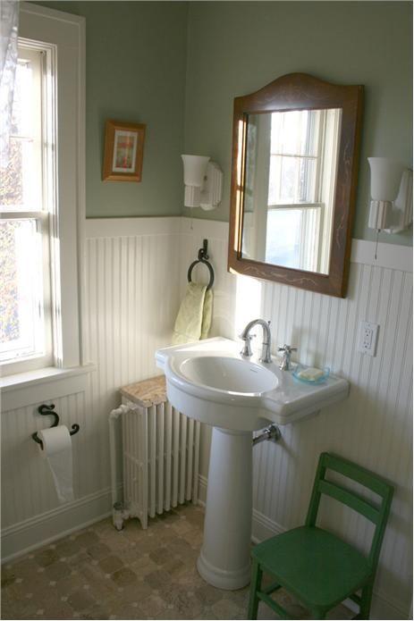 Vert de Terre by Farrow and Ball is closest to Benjamin Moore Croquet af455  Bathrooms
