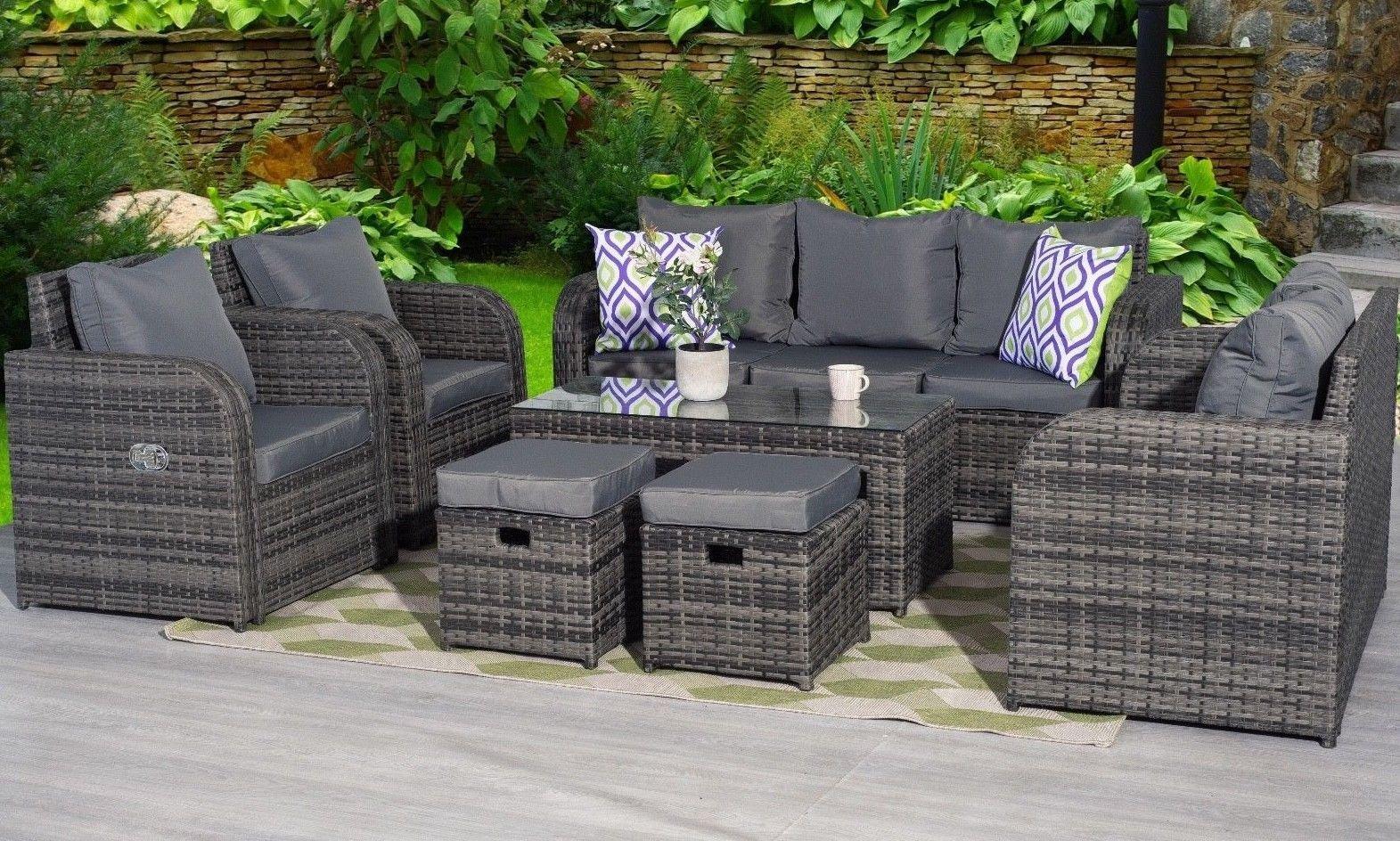 629 9 Seater Brown Rattan Reclining Sofa Set Furniture Maxi Furniture Sofa Set Rattan Garden Furniture