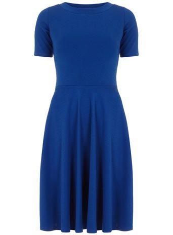 Blue round neck flare dress. DPs.