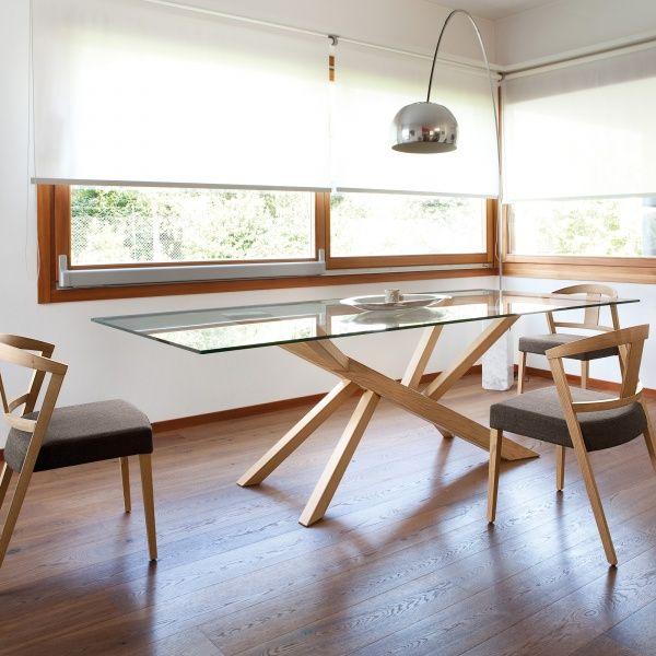 Table Design En Verre Et Pieds Bois Tree Domitalia Pinterest