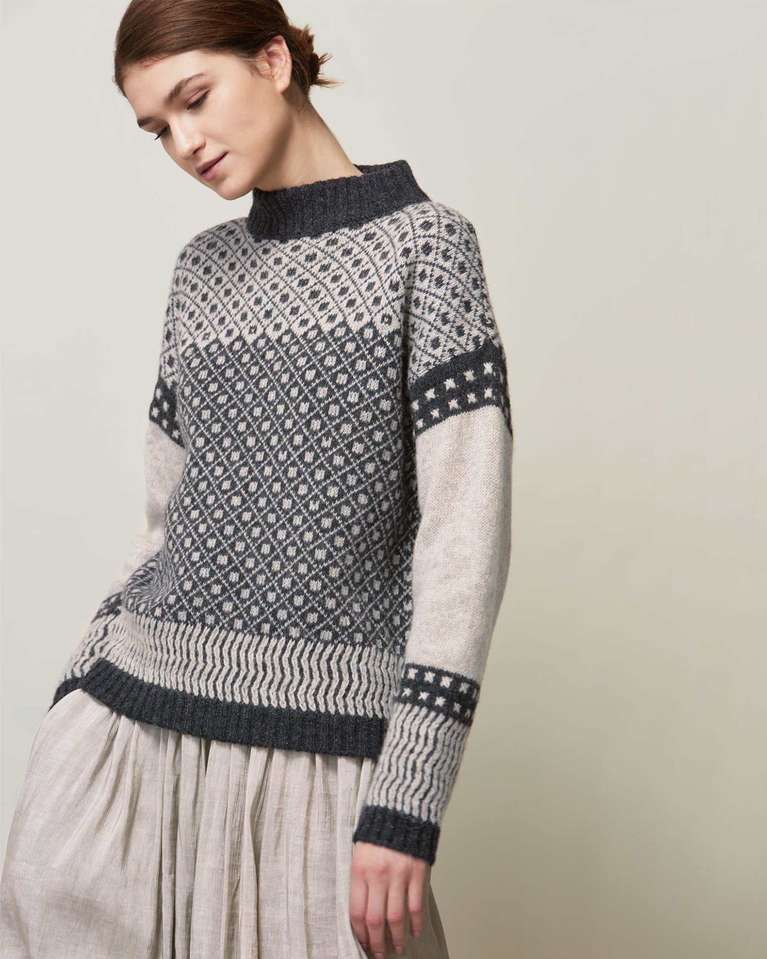 Slouchy Fair Isle pullover in a warm, traditionally spun lambswool ...