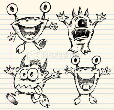 doodle sketch monster vector set so you wanna paint creatures