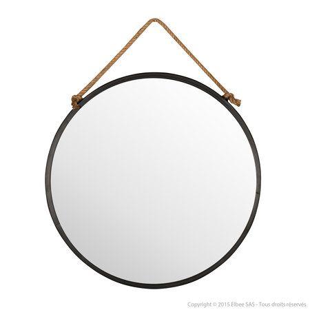 miroir mural rond en m tal noir suspendu par une corde tali salle de bain pinterest. Black Bedroom Furniture Sets. Home Design Ideas