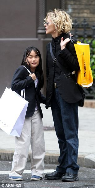 Girls' day out: Meg Ryan (51) and daughter enjoyed a relaxing afternoon in sunny New York