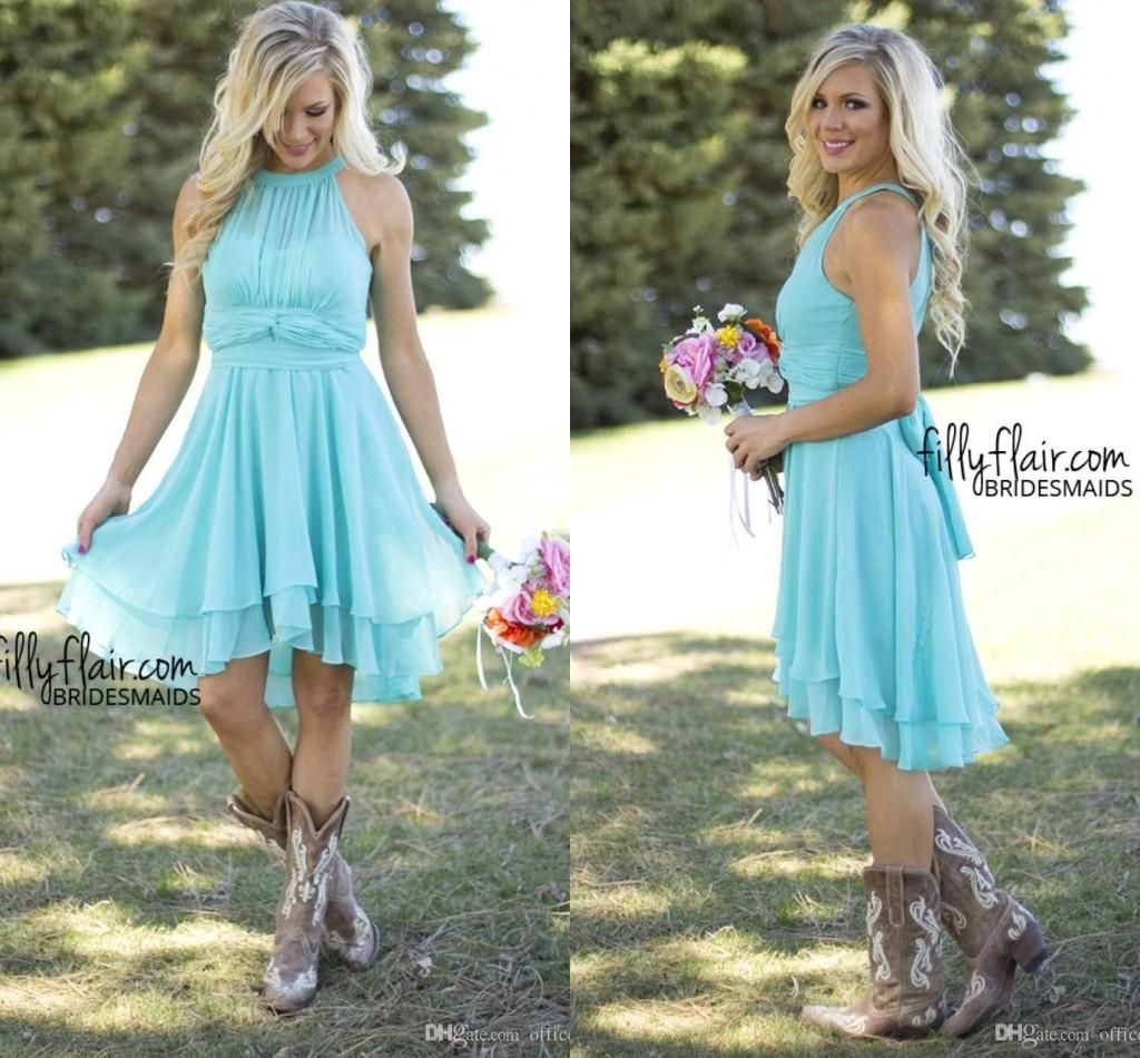 Cheap Bridesmaid Dresses Light Sky Blue Country Style Chiffon A Line ...