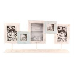Five Photo Frames on Distressed Painted Wood Stand 23 Inch Tabletop Decor