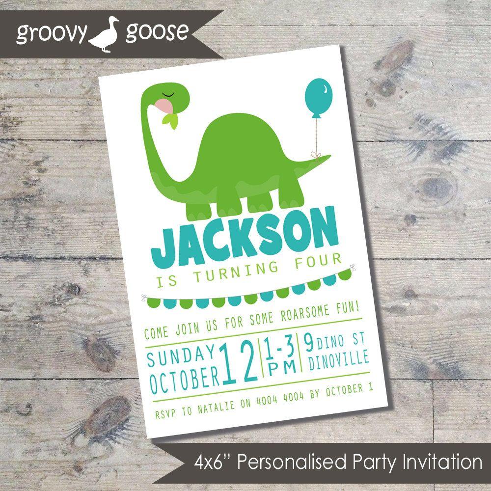 DINOSAUR BALLOON Kids Party invitation DIY Printable Dinosaur ...