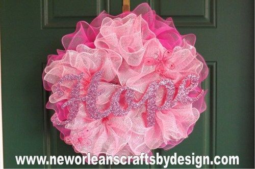 Pink Breast Cancer Awareness Deco Mesh Ruffle Wreath | NewOrleansCraftsbyDesign - Housewares on ArtFire