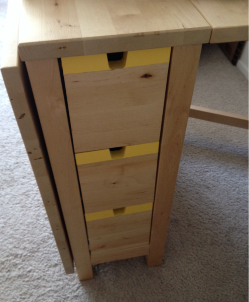 Stripes Painted Along Drawers Of Ikea S Norden Gateleg Table