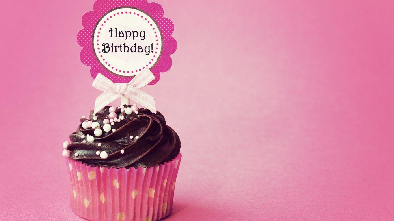 Download Wallpaper Happy Birthday Cupcake Holidays Resolution 1366x768