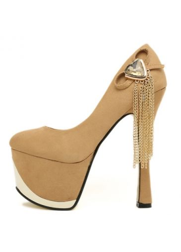 Dazzling Diamond And Metal Chain Embellished Apricot Suede High Heels
