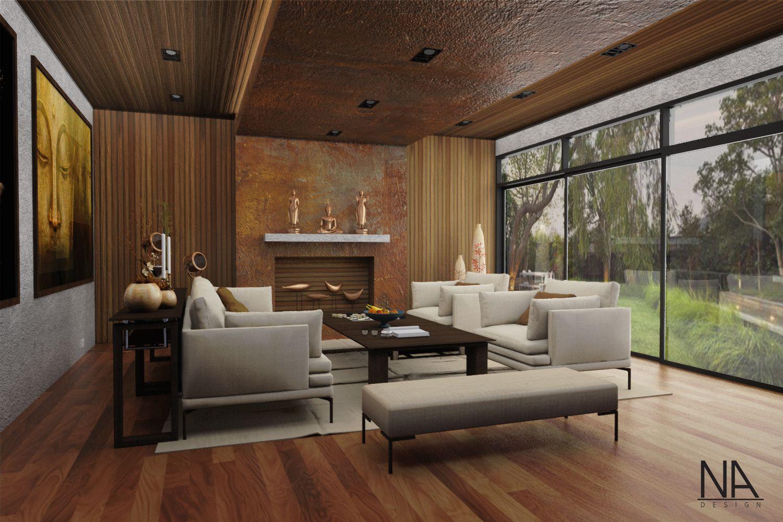practice scene living room brown theme wood | concrete | stone ...