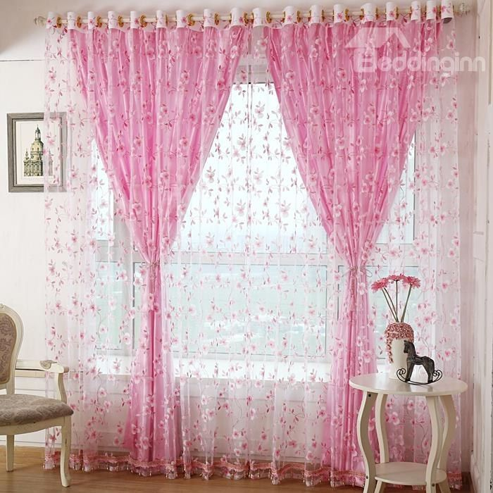Decoration Fresh Style Flower Printing Shading Cloth And Sheer