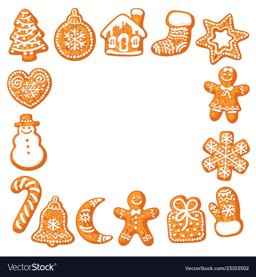 Christmas gingerbread cookies square frame hand vector
