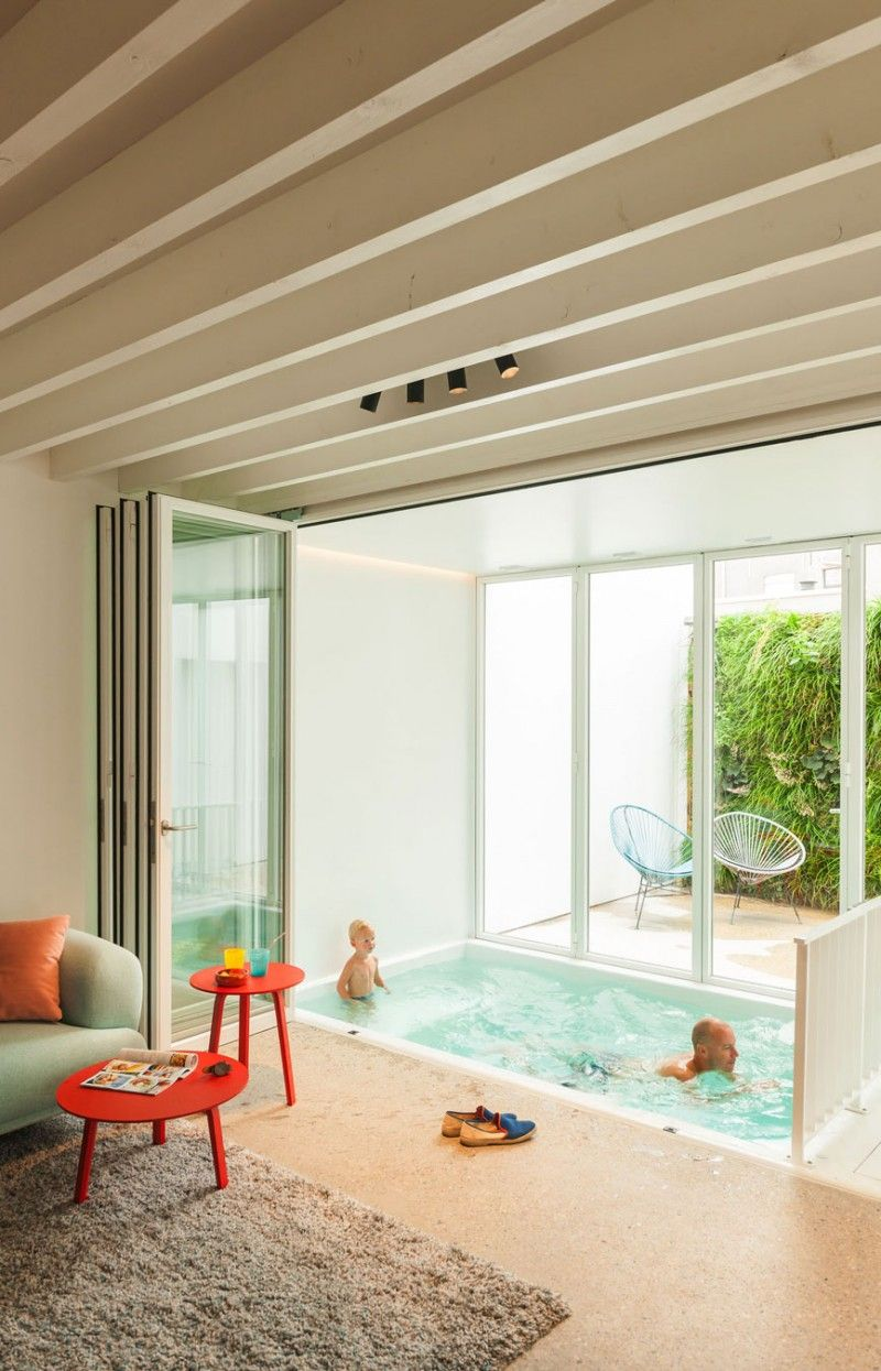 Stunning Perfect Interior Applying Comfortable Concept Maximally: Inviting  Small Semi Indoor Swimming Pool For Baby