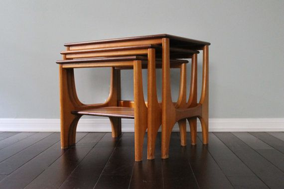 Vintage Mid Century Modern MCM Retro Side Accent Nesting Tables
