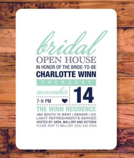 bridal showeropen house invitation by albrowndesign on etsy open house invitation bridal shower