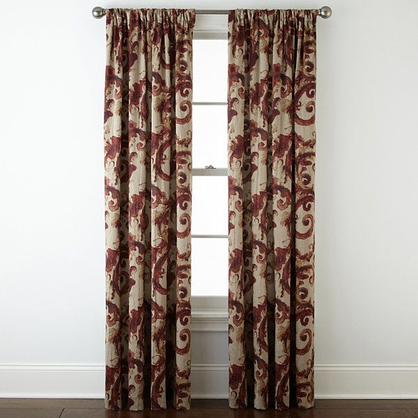 Home ExpressionsTM Tuscany Scroll Room Darkening Rod Pocket Curtain Panel
