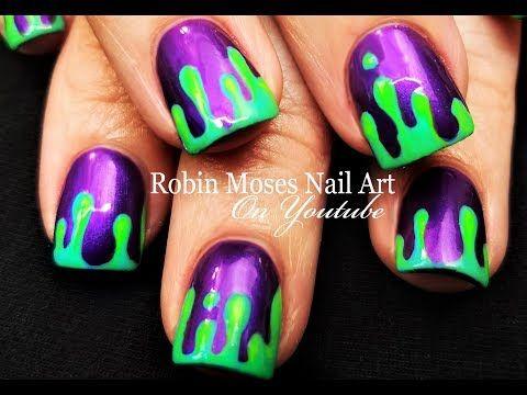 Halloween Nails Diy Dripping Neon Green Slime Nail Art Design Tutorial Youtube Halloween Nails Disney Nails Neon Nails