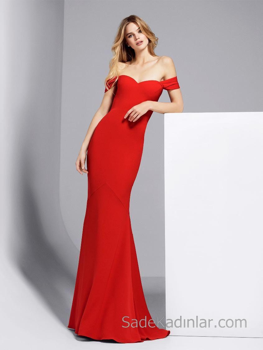 4f0589b60dacd Pronovias 2018 Kırmızı Elbise Modelleri Uzun Kalp Yakalı Düşük Omuzlu Sade  ve Şık