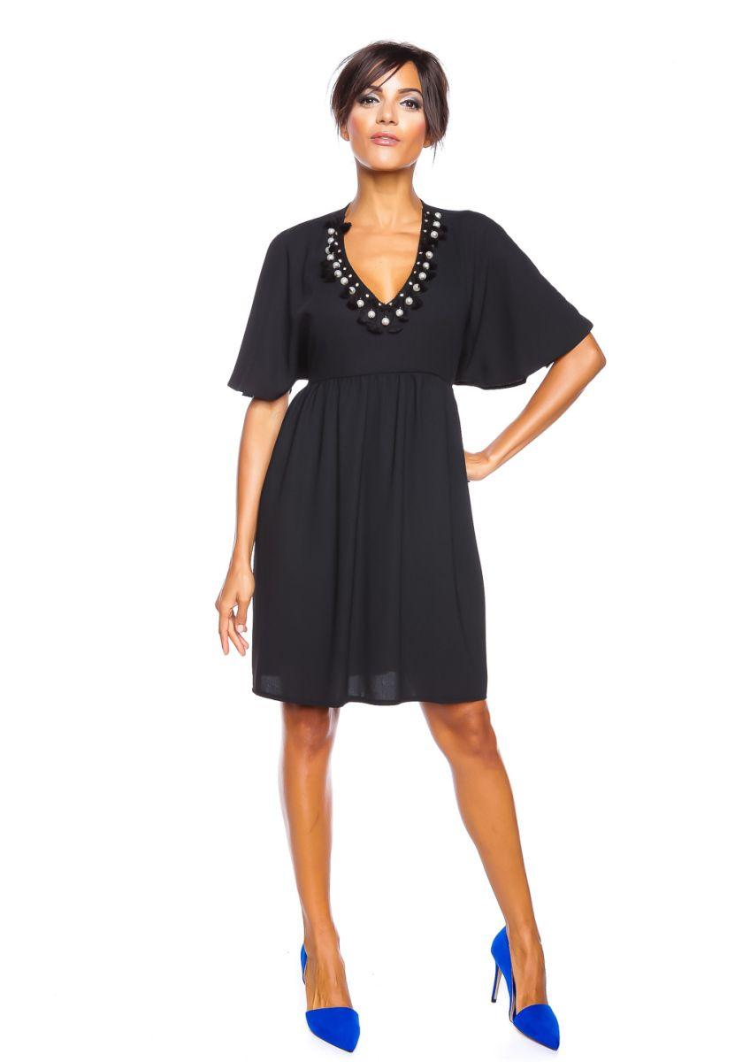 LA Petite Parisienne Kleid Benedicte, Halbarm, V-Ausschnitt schwarz ...