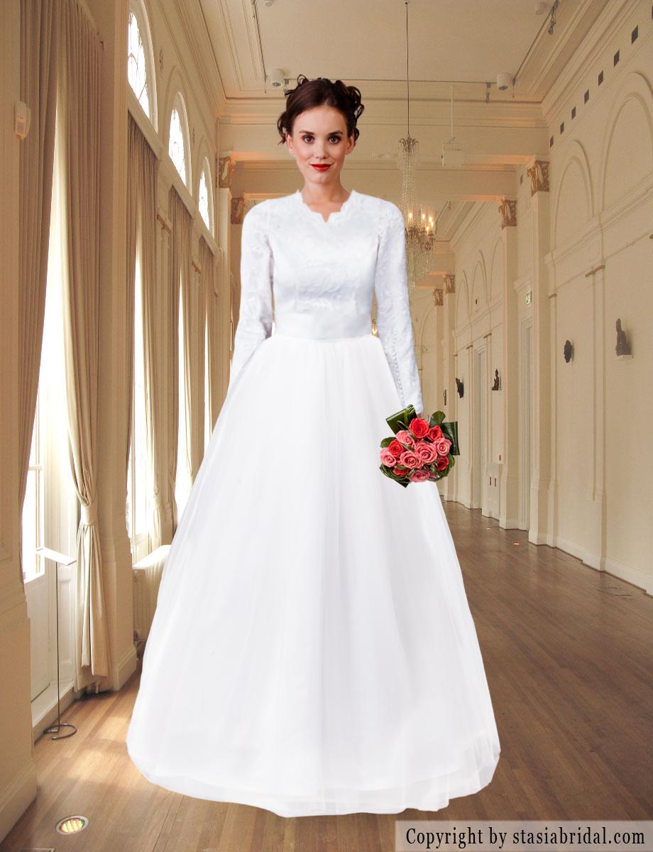 Modest Wedding Dress With Sleeves Modest Wedding Gown Custom Gown Www Stasiab Modest Wedding Dresses With Sleeves Modest Wedding Dresses Bridal Party Attire