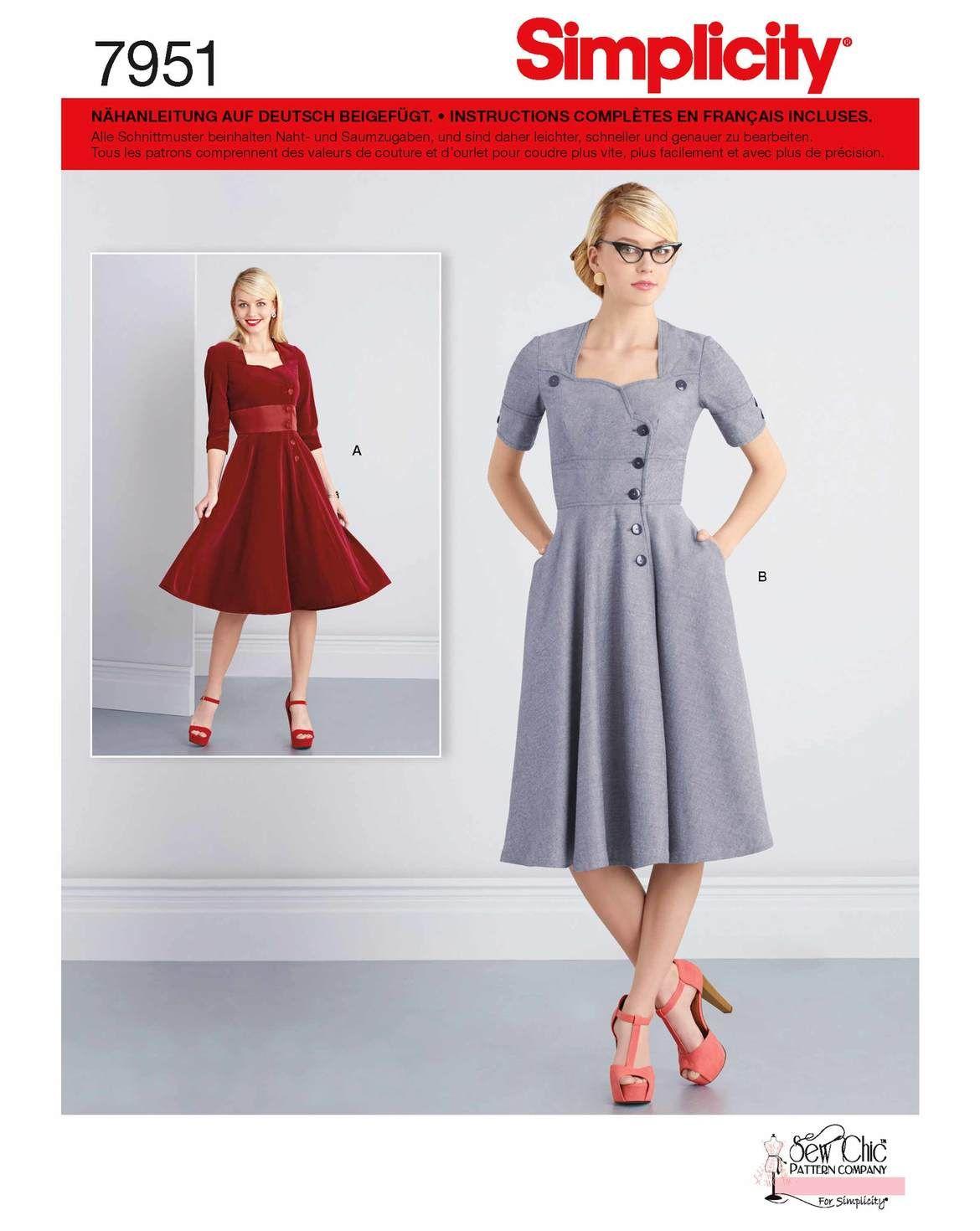 Enthalten in diesem Simplicity-Schnittmuster sind zwei Retro-Kleider ...
