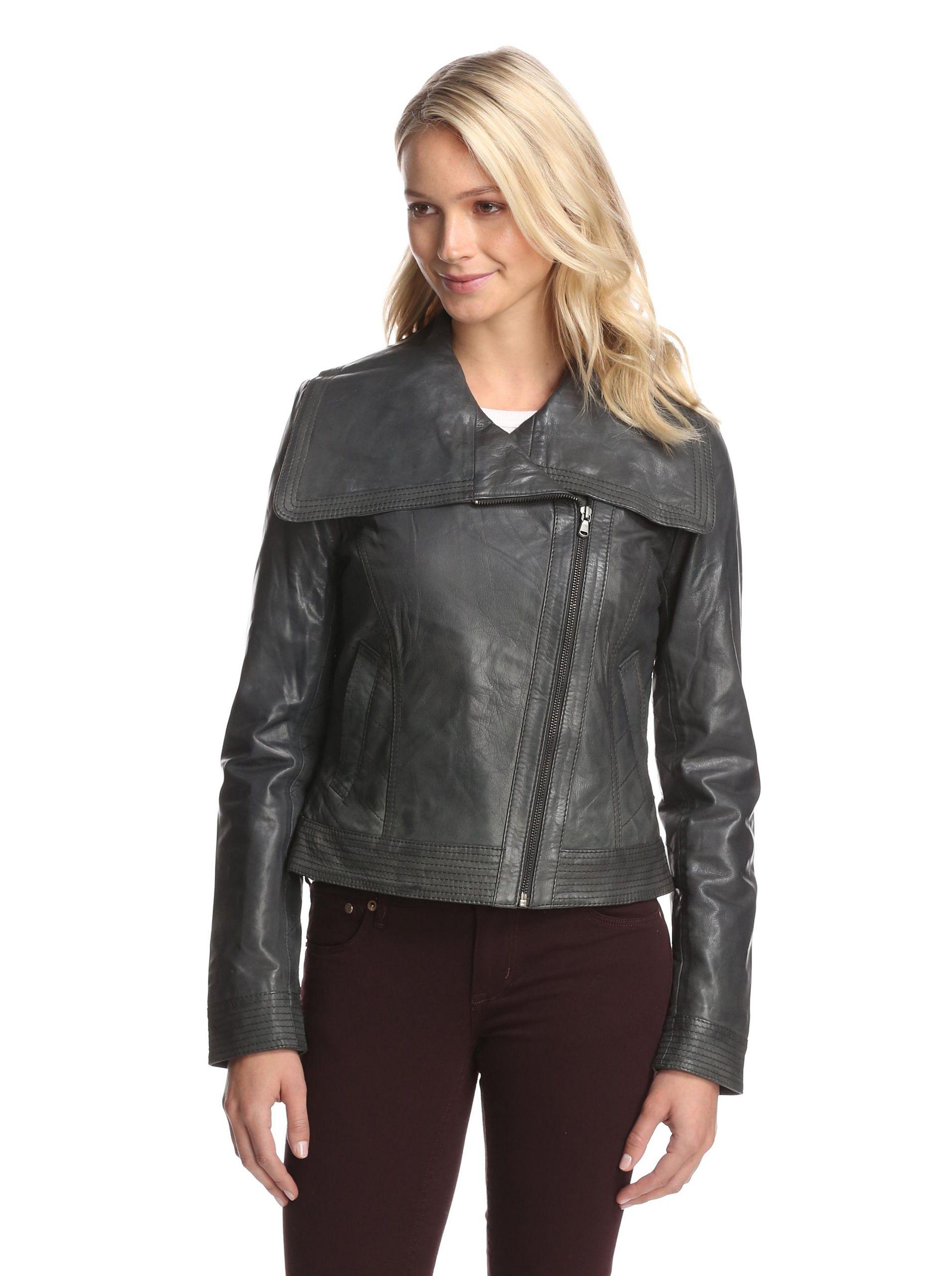 Bagatelle Women S Leather Moto Jacket Dark Green Supple And