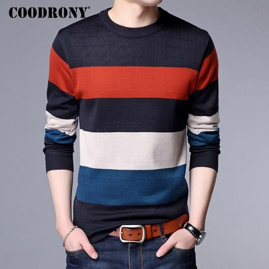 Mens Pullover Long Sleeve O Neck Sweaters Striped Knitting Cashmere Christmas Sweater