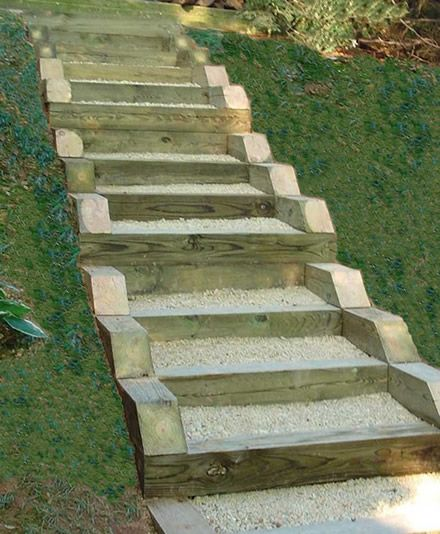 Best Pressure Treated Timber And Gravel Stairs Garden Steps 640 x 480