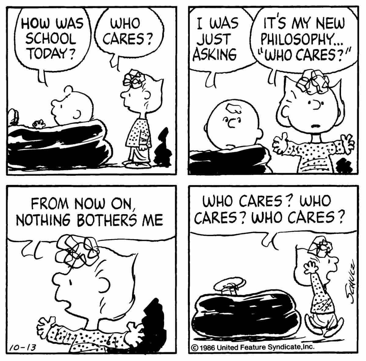 Thepntsgang Pnts Schulz Charliebrown Sally School Philosophy Whocares Snoopy Cartoon Snoopy Funny Snoopy Comics