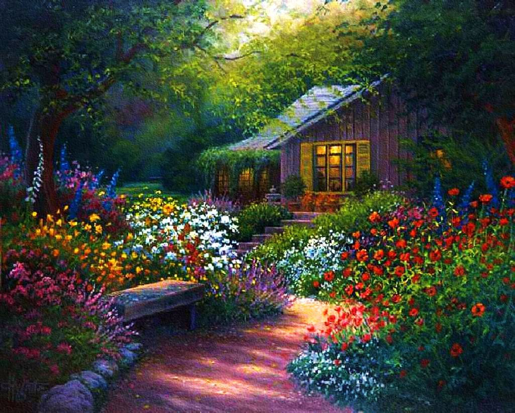 Beautiful Cottage Flower Garden flower garden path paintings - bing images | **art-flowers~gardens