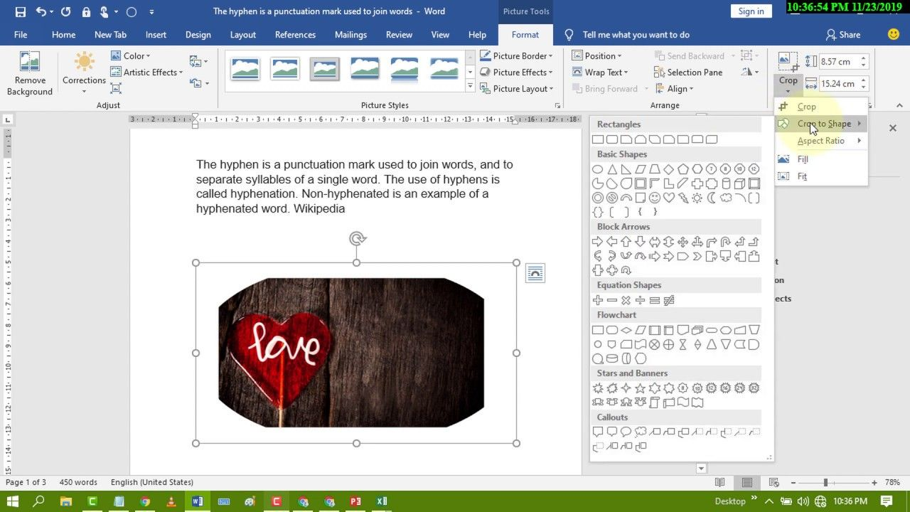 How To Crop A Photo In Microsoft Word Word Pictures Words Microsoft Word