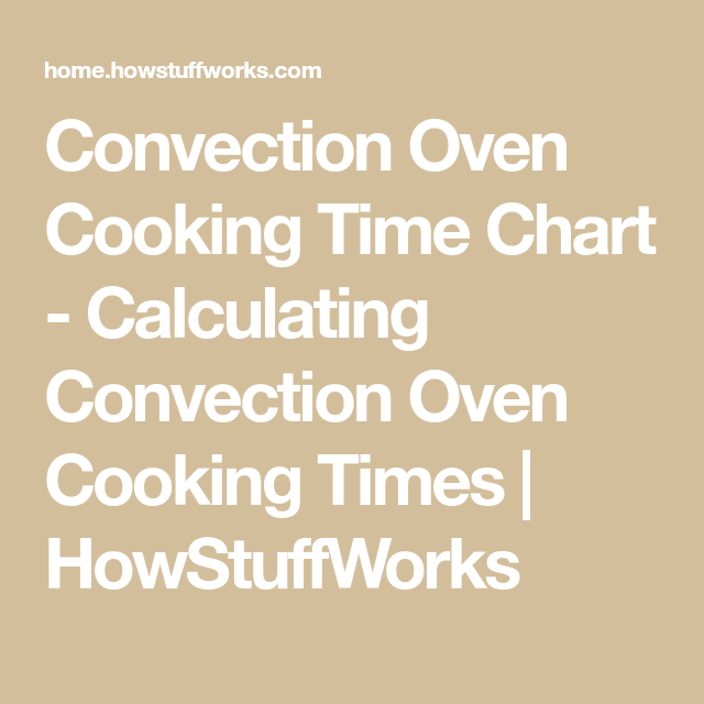 Calculating Convection Oven Cooking Times
