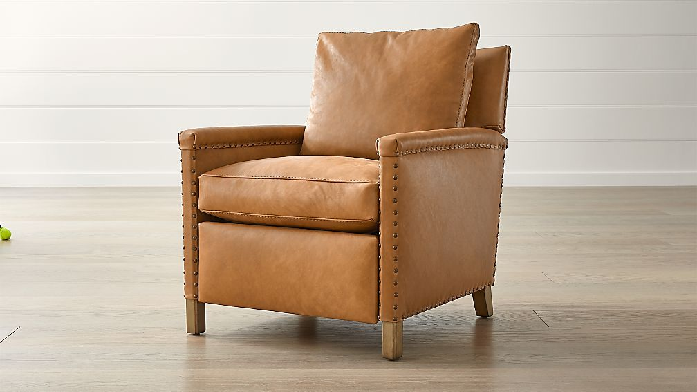Trevor Leather Chair Reviews Crate And Barrel Furniture Design Chair Brown Leather Chairs Patio Rocking Chairs