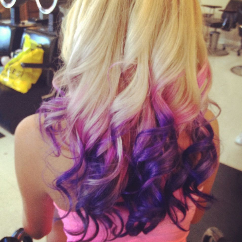 Blonde With Pink And Purple Ends Purple Blonde Hair Pink Blonde Hair Blonde Hair Dark Eyes