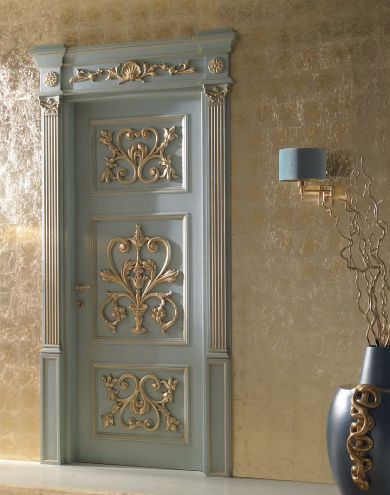 Classic Door Design lorenzos doors Palazzo Peterhof 7015qqint Casing With Cyma Louvre Lacquered Shaded Blue With Gold