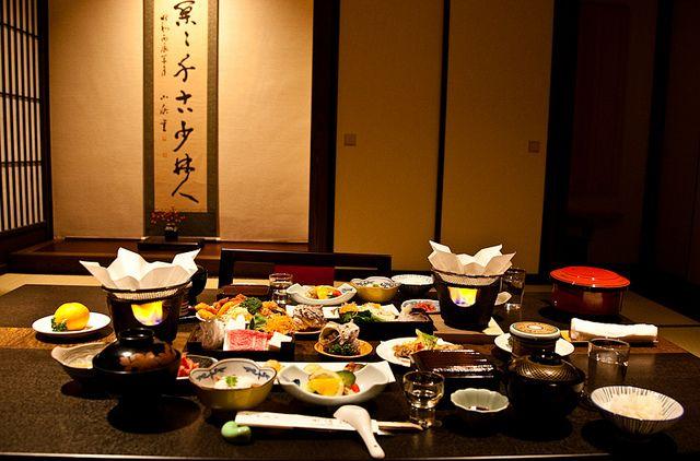 Dinner in our room at Tanabe Ryokan, Takayama, Japan