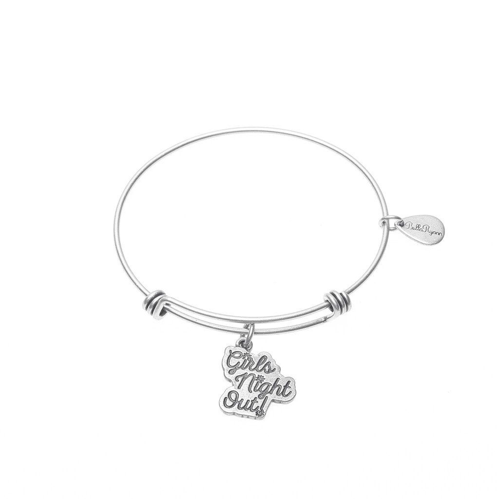 Girls night out expandable bangle charm bracelet in silver bangle