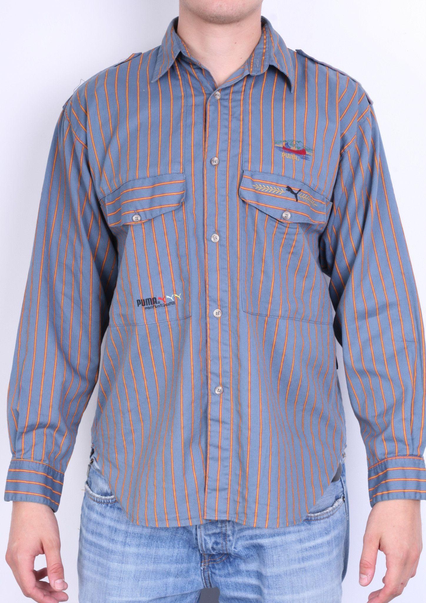 6d5ed58937f8 Puma Mens S Casual Shirt Navy Blue Striped Sport Long Sleeve Cotton ...
