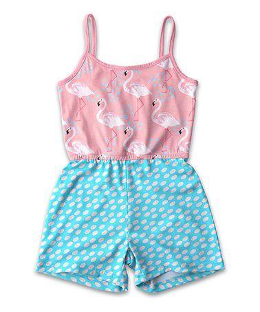 7391e2430 Sunshine Swing | Pink & Turquoise Flamingo Polka Dot Romper - Toddler &  Girls #zulily #zulilyfinds