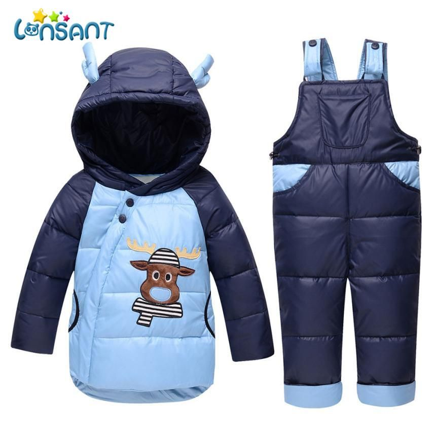 843d36097 LONSANT Clothing Sets Children Boys Girls Winter Warm Clothes Jacket ...