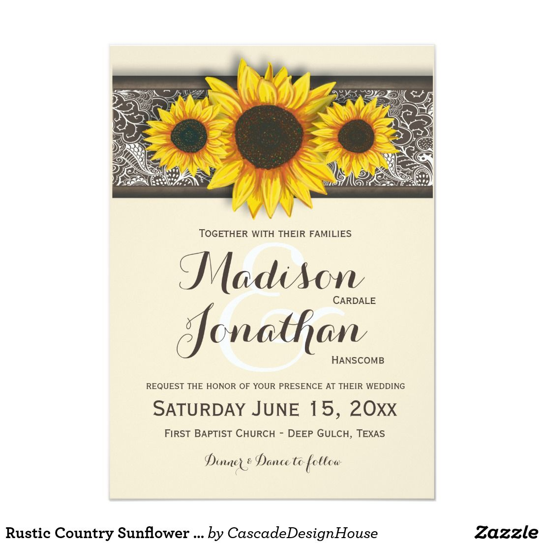 Rustic Country Sunflower Wedding Invitations   Rustic Country ...