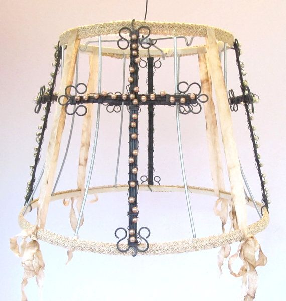 Vintage lampshade frame with wirepinkwhite pearl crosses sassytrash designs in wire and assemblage art by sassytrashdesigns wire lampshadelampshade ideasvintage greentooth Image collections