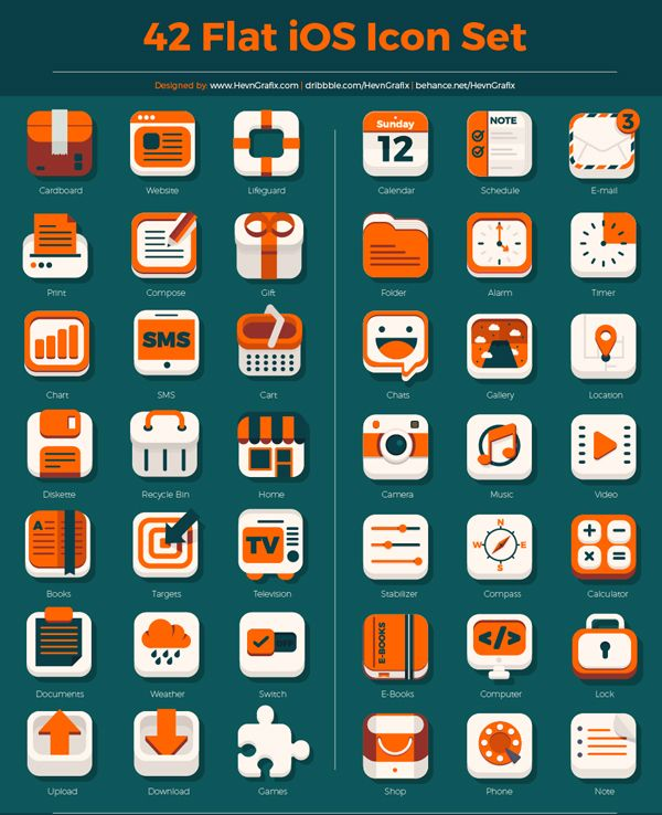 free flat ios icon set psd ai 42 icons uxdesign android